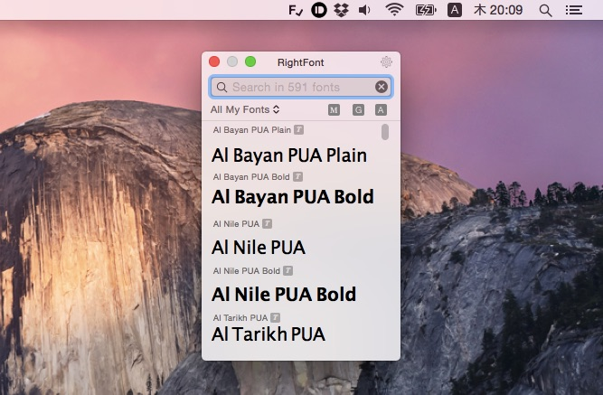 RightFont on OS X 10.10 Yosemite