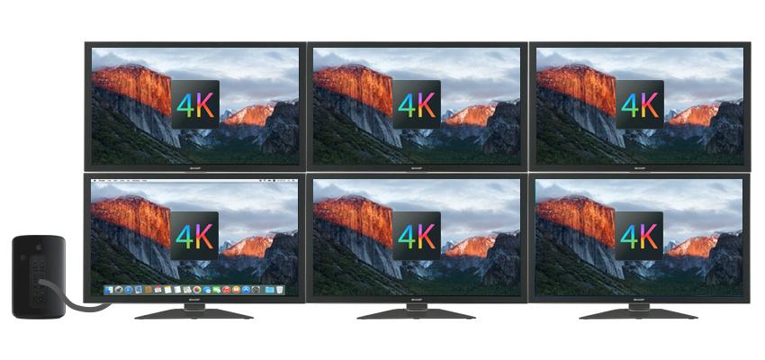 Mac Pro (2019)の6台のディスプレイ