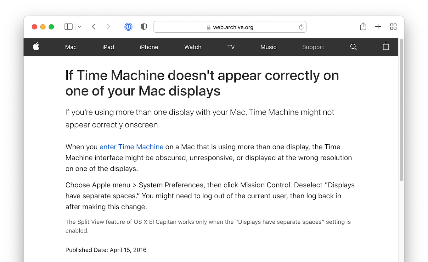 If Time Machine doesnt appear correctly on one of your Mac displays