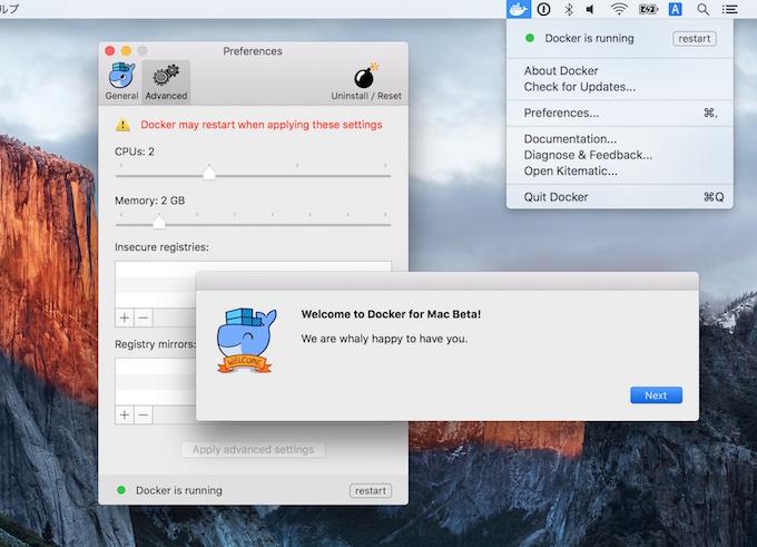 Docker-for-Mac-Beta-running