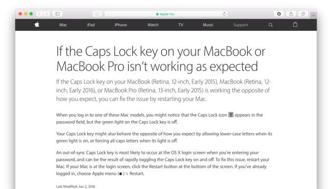 MacBook-Caps-Lock-key-issue