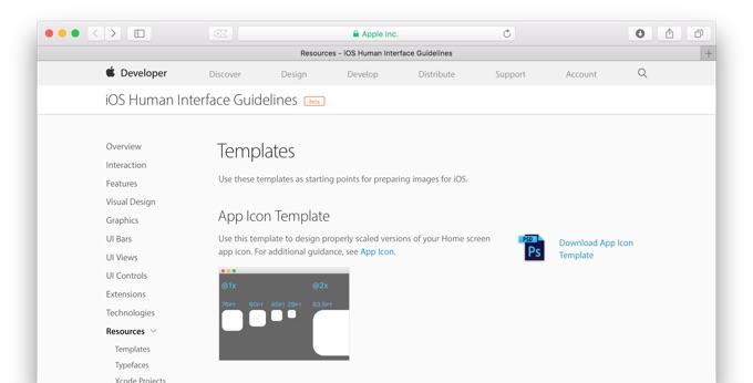 apple ios用アプリなどの新しいアイコンテンプレートをpsdファイルで