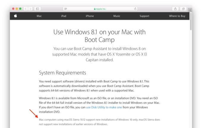 sierra-windows-10-only-support-pages