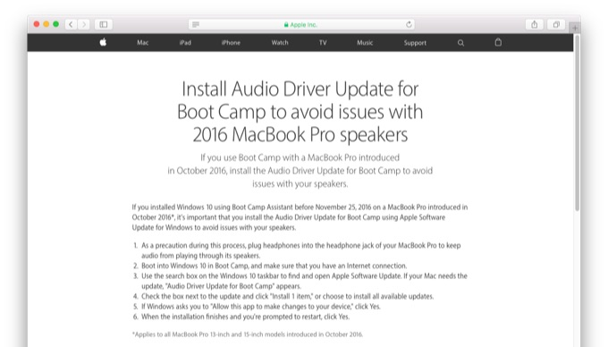 audio-driver-update-boot-camp-for-2016-macbook-pro-speakers