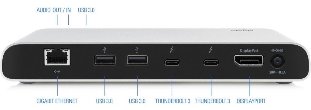 Elgato Thunderbolt 3 Dockのポート配置。