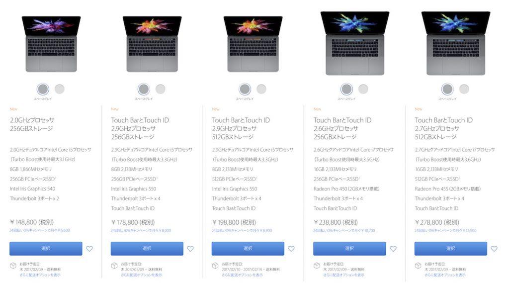 2016年に発売されたMacBook Proのラインナップ。