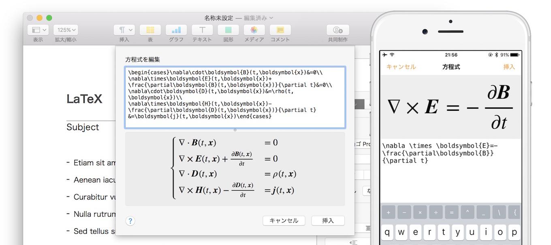 Pages For Mac/iOSでサポートされたLaTeX表記の方程式入力は「Blahtex」でMathMLに変換可能な表記のみをサポート。