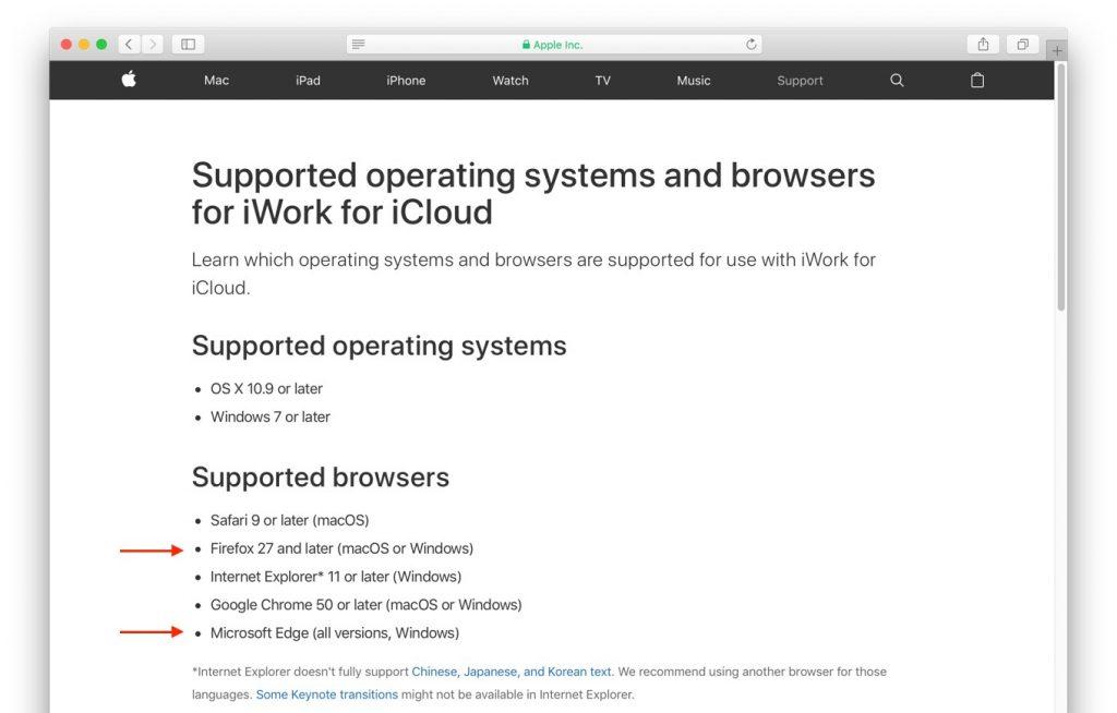 AppleがアップデートしたiWork for iCloudのサポートブラウザ。