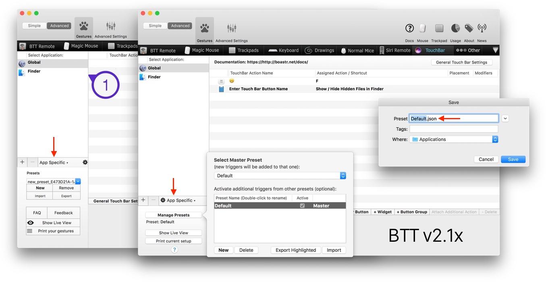 BetterTouchTool v2.10のJSON形式の書き出し