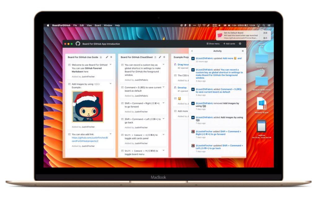 Mac用GitHub Projectsビュワーアプリ「Board For GitHub」のウィンドウ。