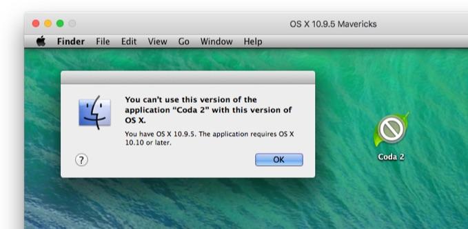 Coda for MacはOS X 10.9 Mavericksのサポートを終了しました。