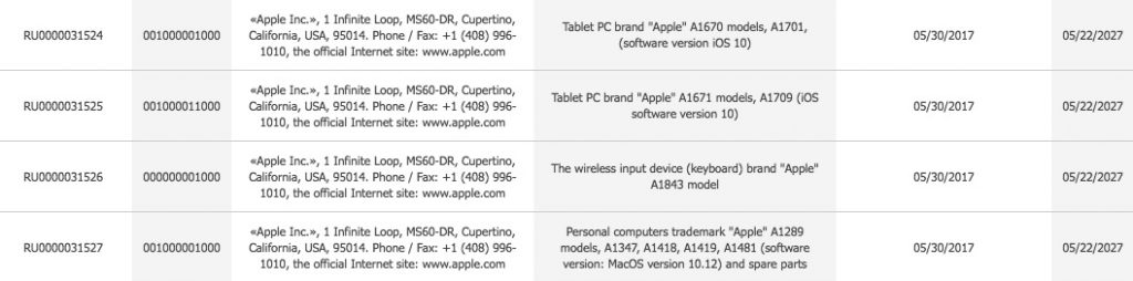 Eurasian Economic Commissionに登録されたAppleのデバイス。
