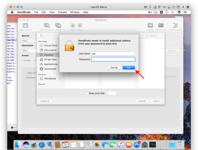 インストールに管理者権限を求めるProtonに感染されたHandBreak for Mac