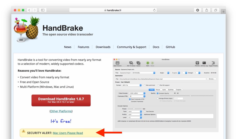 サーバーのハッキング被害にあったHandBrake for Macの公式サイト