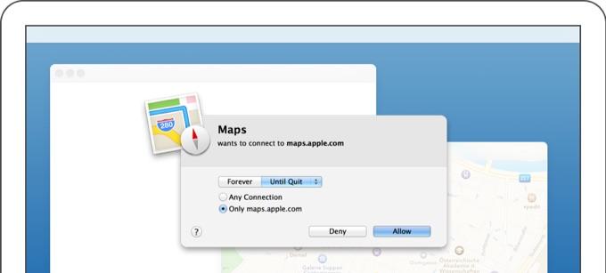 ネットワーク監視アプリ「Little Snitch」のポップアップウィンドウ。