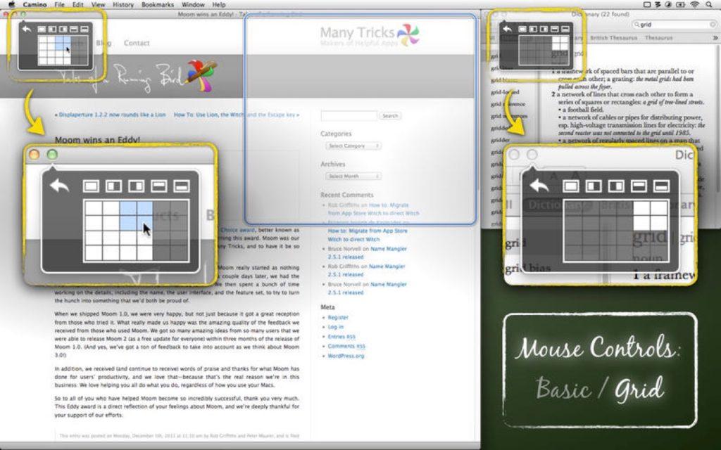 Mac用ウィンドウマネージャ「Moom」のグリッド機能。