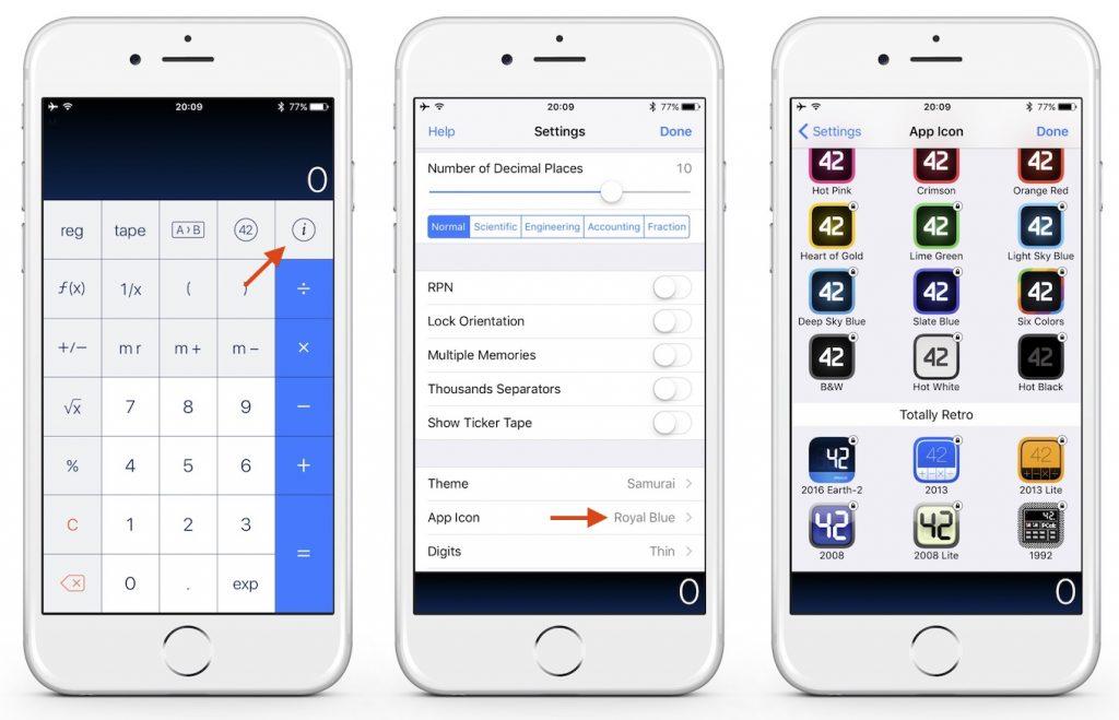 iOS 10.3以降でPCalc for iOSのアイコンを変更する方法。