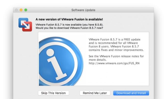 VMware Fusion v8.5.7アップデート。