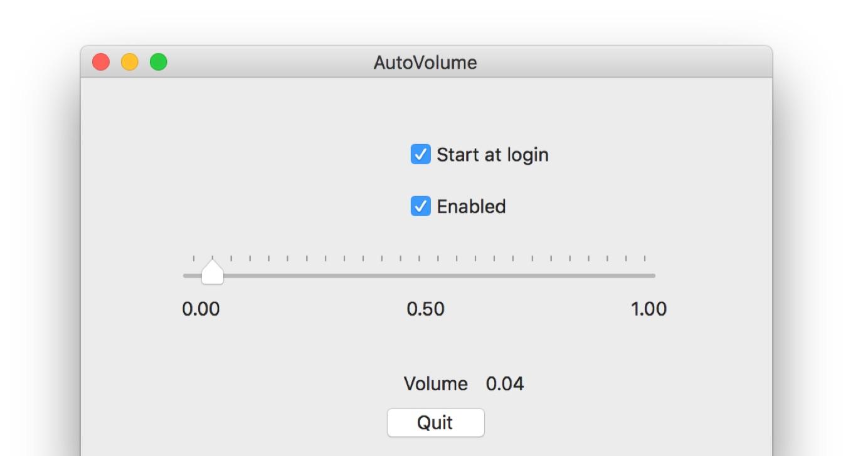 Macがスリープから復帰後に音量を再調整してくれるアプリAutoVolumeの設定画面。