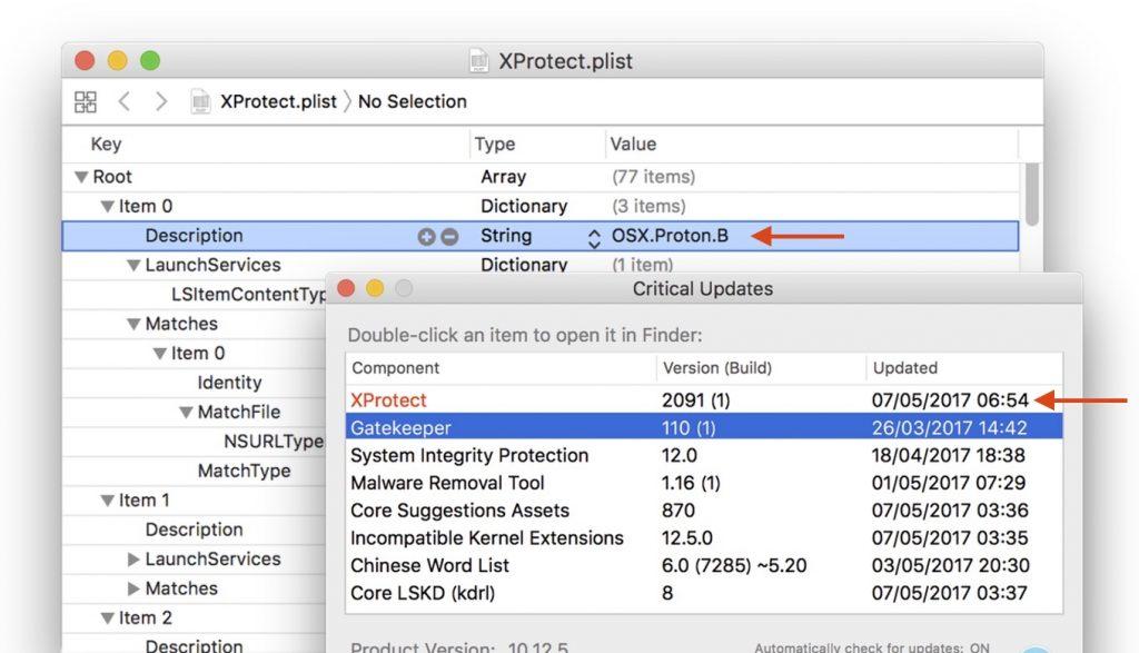 2017年05月06日にアップデートされたXProtect v2091をCritical Updatesアプリとplistで確認