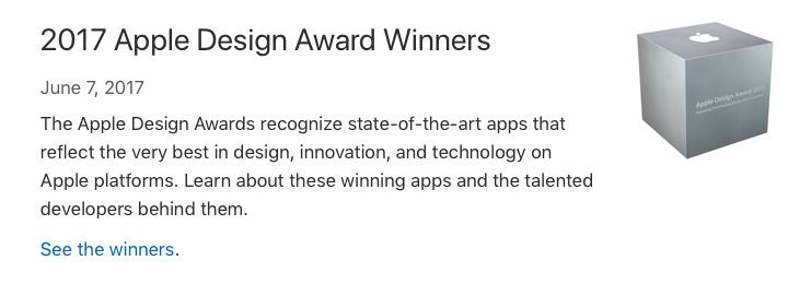 2017 Apple Design Awardsの発表。