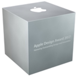 Apple Design Awardsのトロフィーとアイコン。