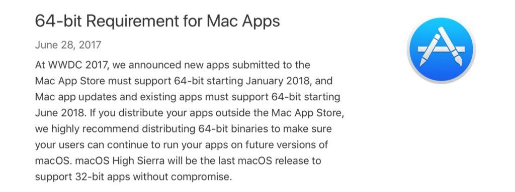 AppleのMac 64-bitアプリの必須化