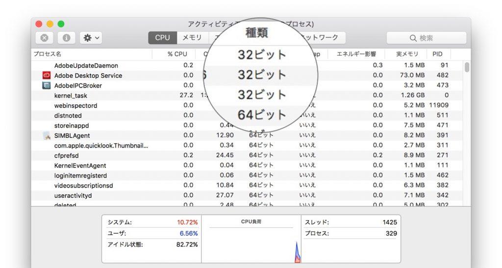 アクティビティモニタで32bitアプリを確認。