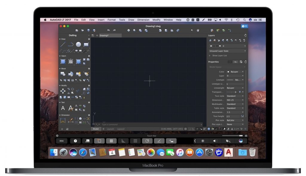 AutoCAD 2017 for Macの機能を表示したTouch Bar