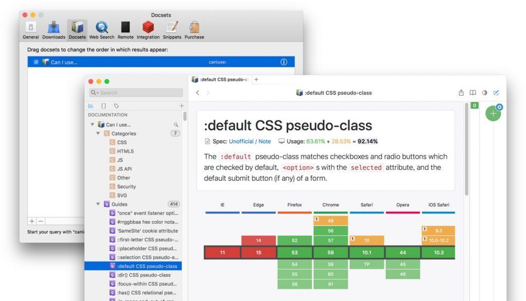 Dash for MacにCan I useのDocsetを追加したところ。