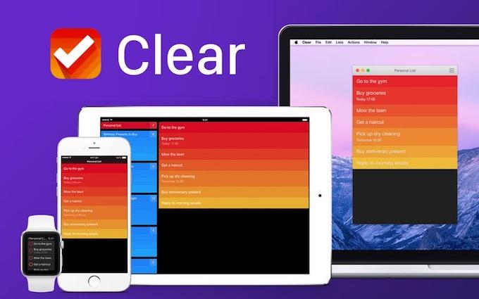 Clear for Mac/iOSのスクリーンショット。