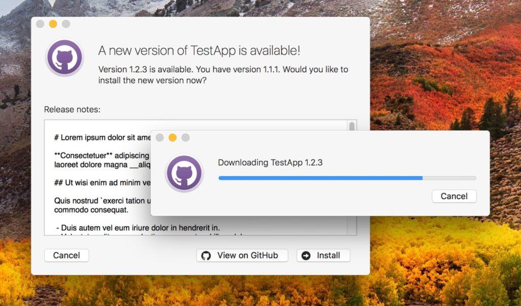 Macアプリのアップデート管理用CocoaフレームワークGitHubUpdates