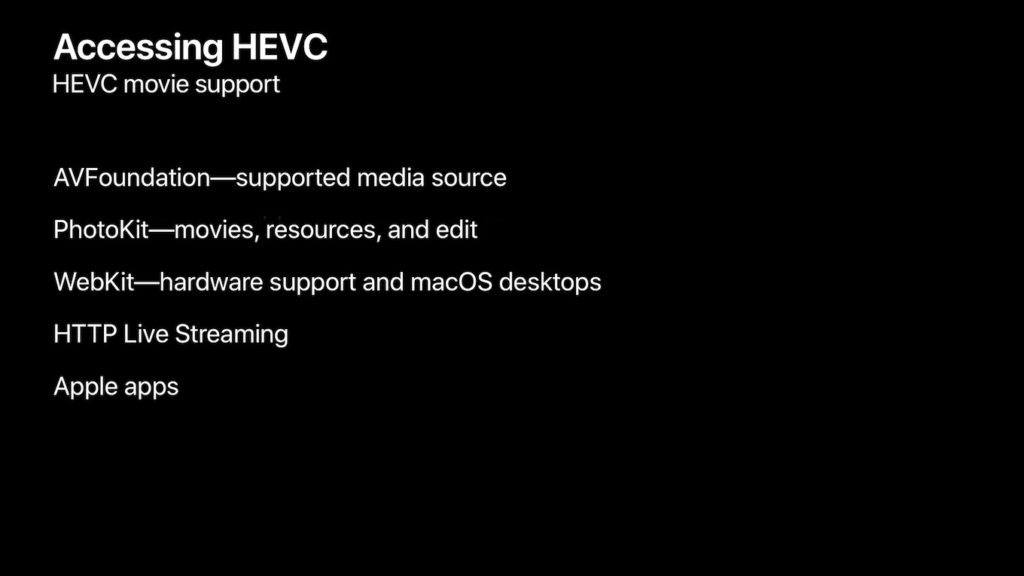HEVCをサポートするフレームワークとアプリ