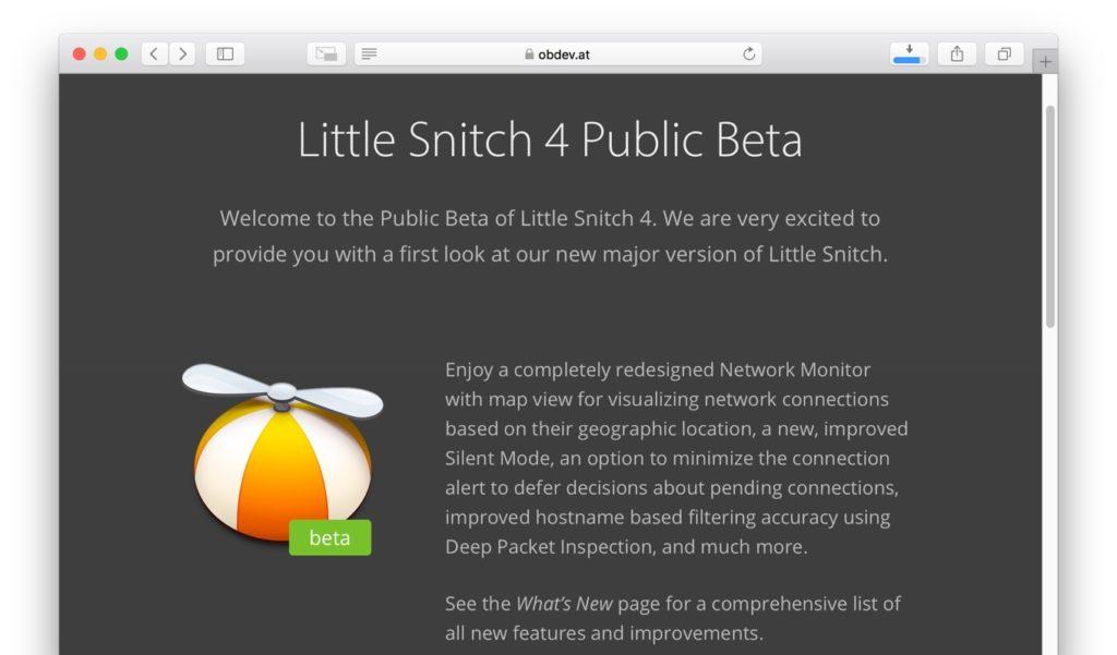 Little Snitch 4 Public Betaリリース。