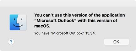 macOS 10.13 High Sierraで起動しないOffice for Macのダイアログ。