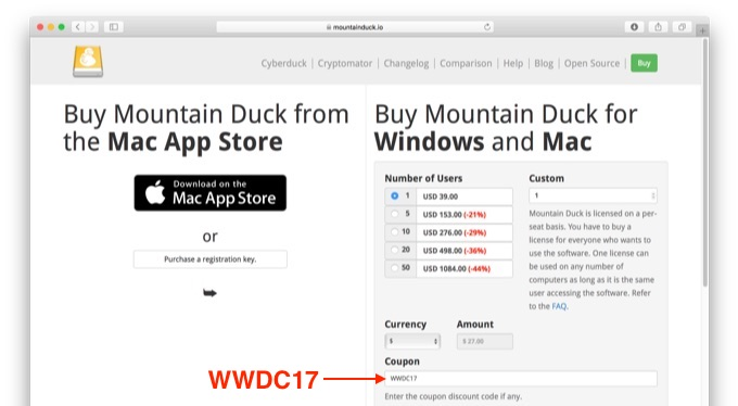 Mountain DuckのWWDC 2017開催記念セール