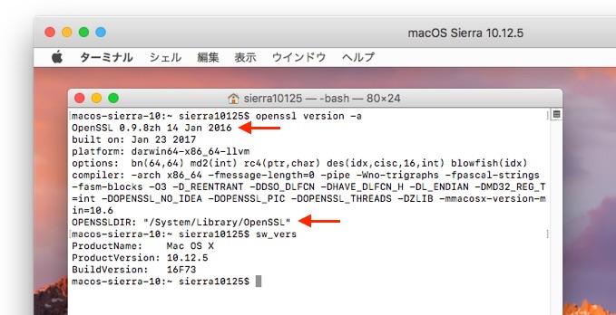 macOS 10.12.5 SieeraのSSLライブラリ