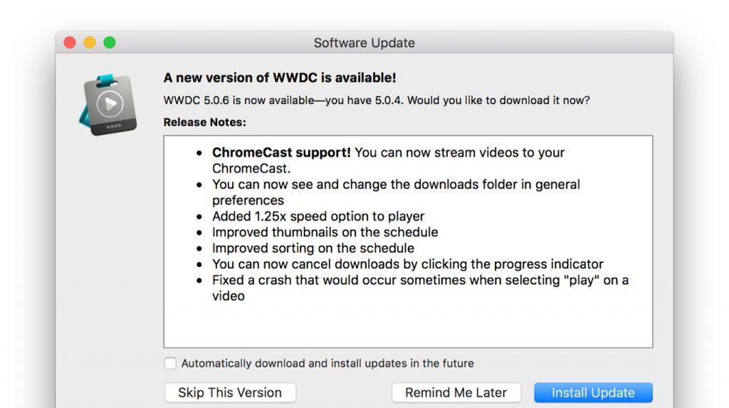 WWDC for macOS v5.0.6のリリースノート。