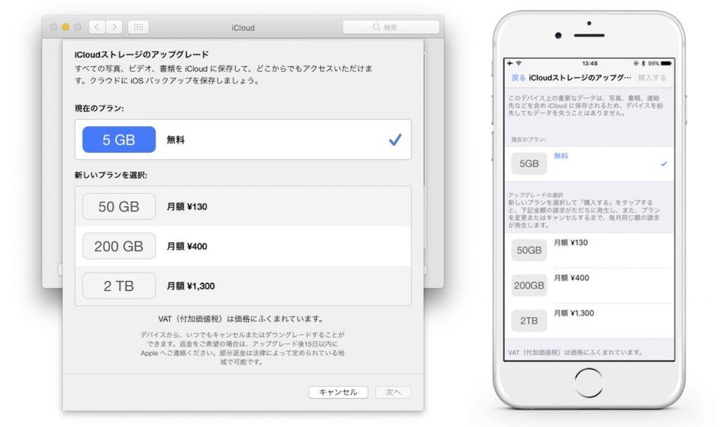 iCloudストレージプランの購入方法。