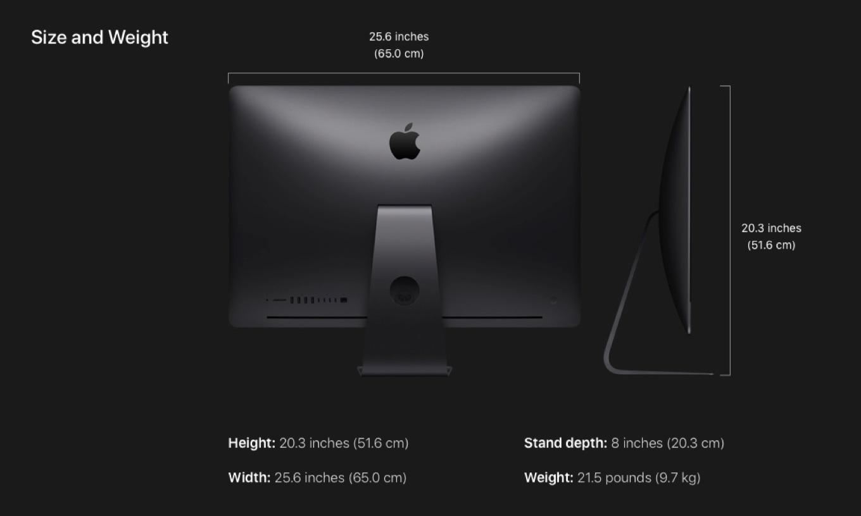 iMac Pro 2017のサイズ