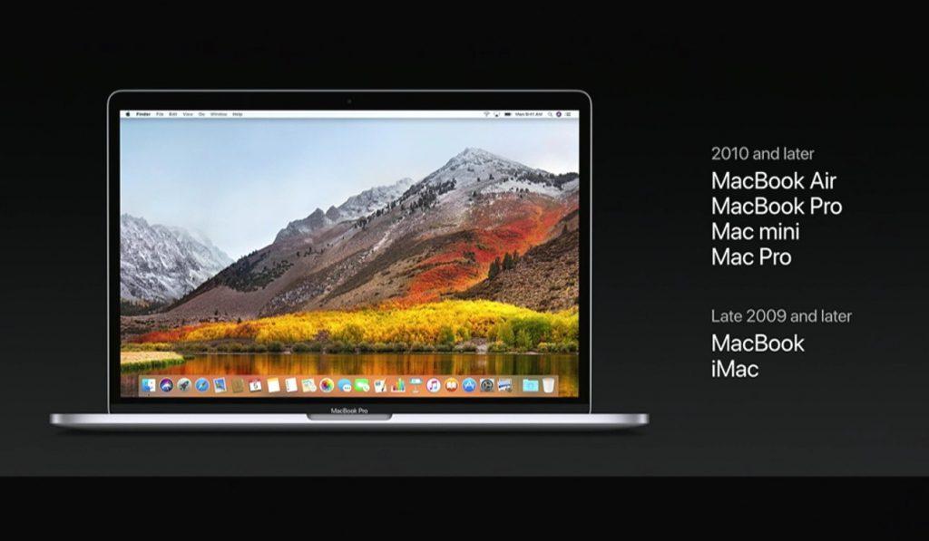 macOS Hight Sierraへアップグレードが可能なMacの一覧。