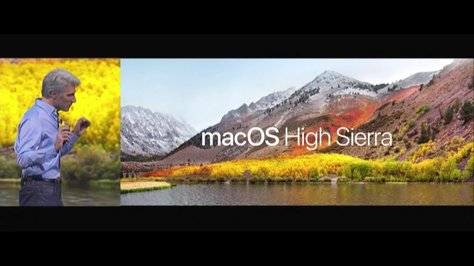 macOS High Sierraが発表されたスライド。