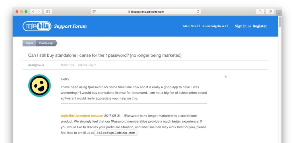1Password is no longer marketed as a standalone product