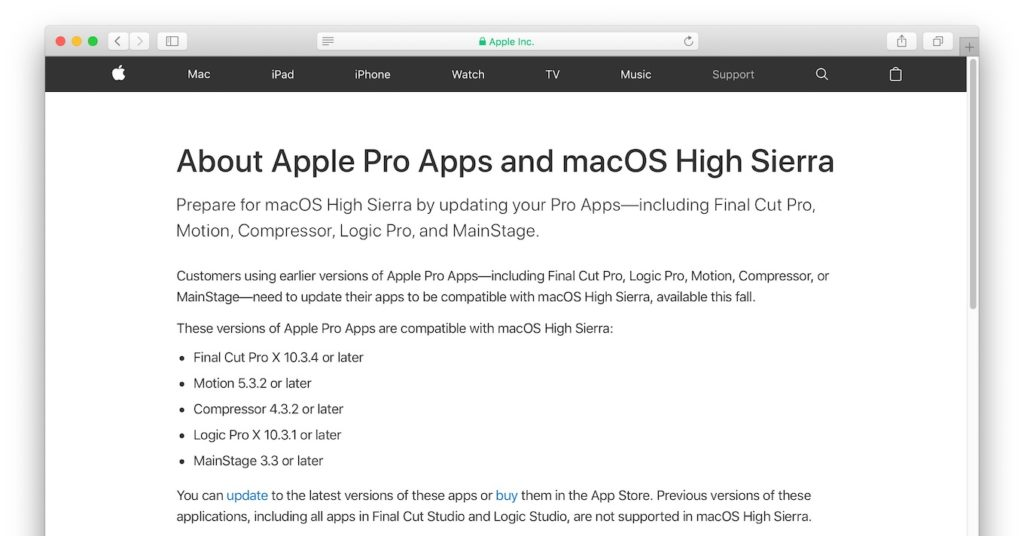AppleのプロアプリとmacOS 10.13 High Sierraの互換性