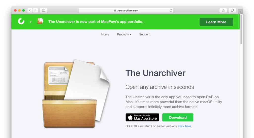 The Unarchiverの公式サイト