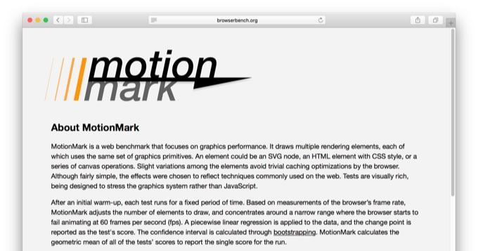 WebKitが開発したMotionMarkベンチマーク