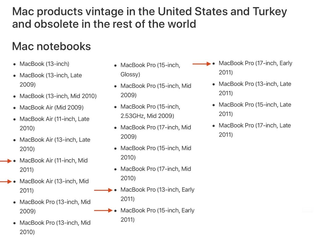 MacBook Air/Pro 2011のオブソリート