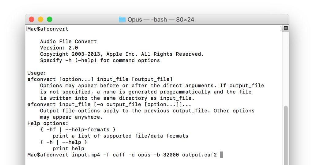 macOS 10.13 High Sierraのafcovnertコマンド