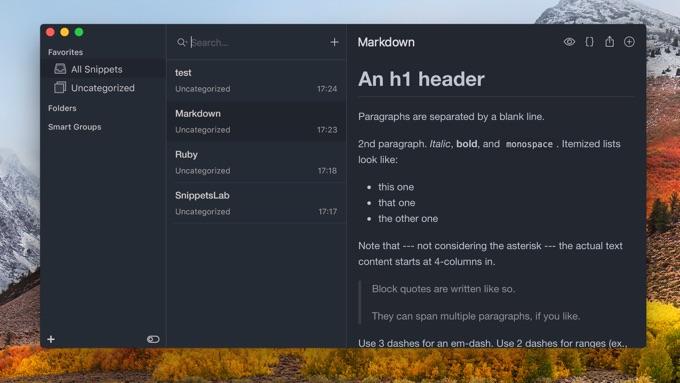 Mac用スニペットアプリ「SnippetsLab」