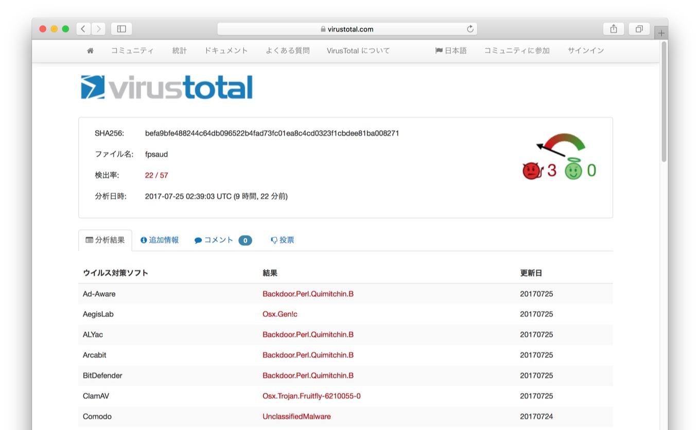 VirusTotalのFruitfly/Quimitchin.Bデータ